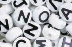 Alphabet Beads 10mm White/Black 360 Pieces 1197SV073B