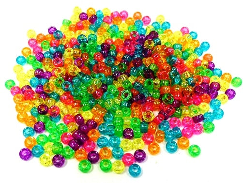 Mini Pony Beads 6.5 x 4mm Sparkle Multi 2300 Pieces 1651SV467