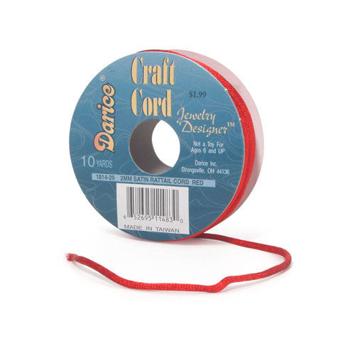 Rattail Cord Satin 2mm x 10 yds Red 1814-29