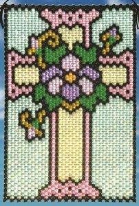 Beaded Banner Kit,  Spring Stained Glass Cross  #7184 - Beadery Products