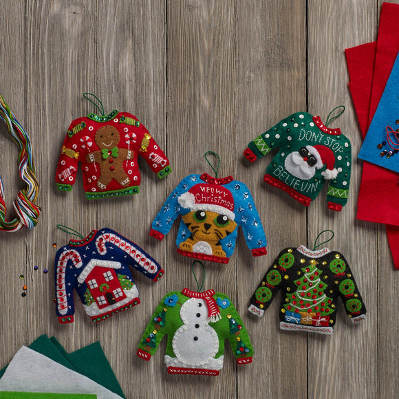 Bucilla Felt Ornament Kit Ugly Sweaters #86674