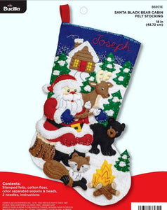 Felt Stocking Santa's Black Bear Cabin 86931E