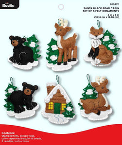 Bucilla Felt Ornament Kit Santa's Black Bear Cabin 86947E