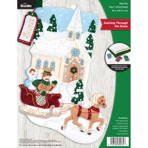 Felt Stocking Dashing Through The Snow 89074E