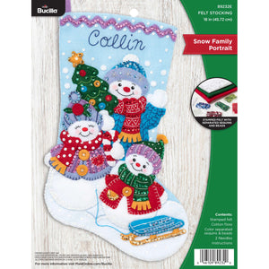 Felt Stocking Snow Family Portrait  89232E