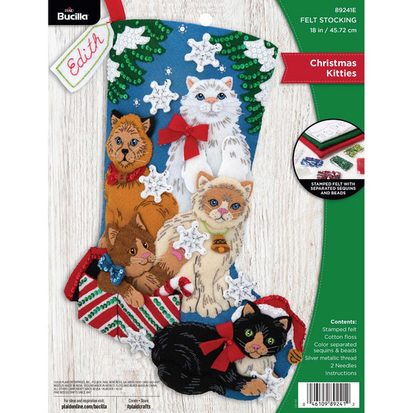 Felt Stocking Christmas Kittens 89241EI