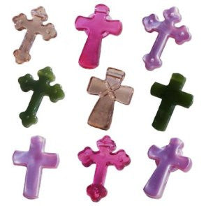 Cross Pendant 25mm, Bright Pastel Multi  #1578SV079 - Beadery Products