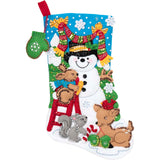 Felt Stocking Building A Snowman 89071E