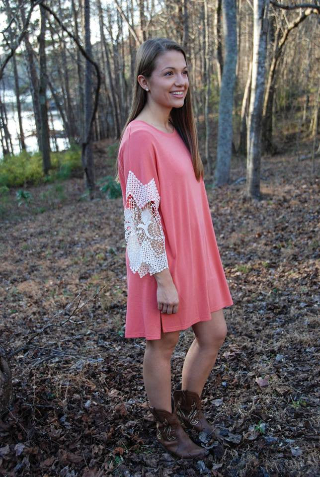 Lovely in Lace - Coral Dress/Tunic
