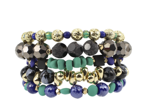 ERIMISH  CROWN JEWEL STACK BRACELET SET