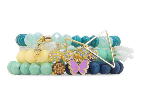 ERIMISH  -  GEM JAMS  (KID SIZED) -  PEZ FLUTTER  - STACK BRACELET SET