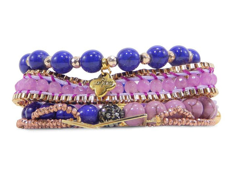 ERIMISH  -  GEM JAMS  (KID SIZED) -  PEZ PURPLE - STACK BRACELET SET