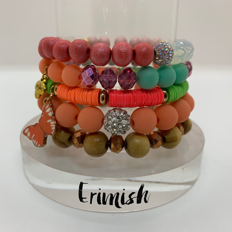 ERIMISH  -  GEM JAMS  (KID SIZED) -  BUTTERFLY KISSES STACK BRACELET SET