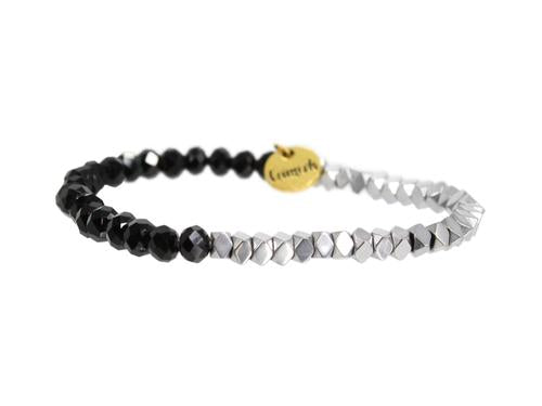 "ERIMISH ""GAMER"" - BLACK AND SILVER - STACKABLE BRACELET"