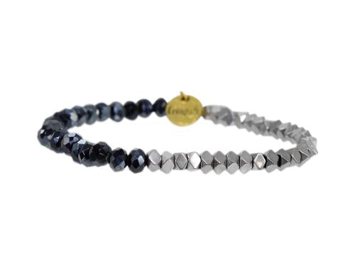 "ERIMISH ""GAMER"" - NAVY AND SILVER - STACKABLE BRACELET"
