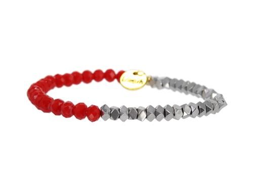 "ERIMISH ""GAMER"" - SILVER AND RED - STACKABLE BRACELET"