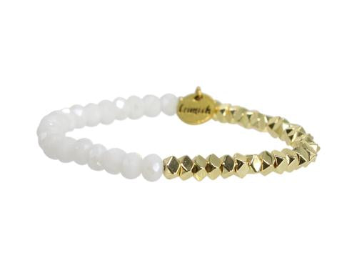 "ERIMISH ""GAMER"" - WHITE AND GOLD - STACKABLE BRACELET"