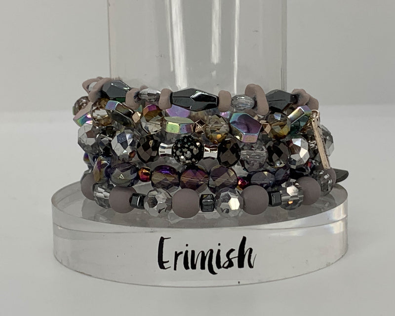 "ERIMISH  -  ""BLACK FRIDAY"" -  EXTENDED SIZE CHARCOAL STACK BRACELET SET"