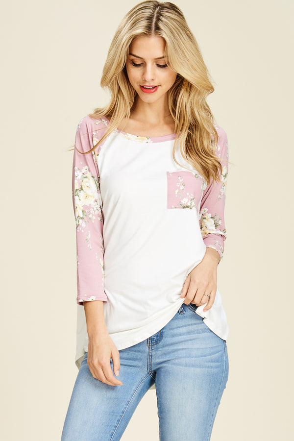REB & J - MARY FLORAL BASEBALL TUNIC TOP