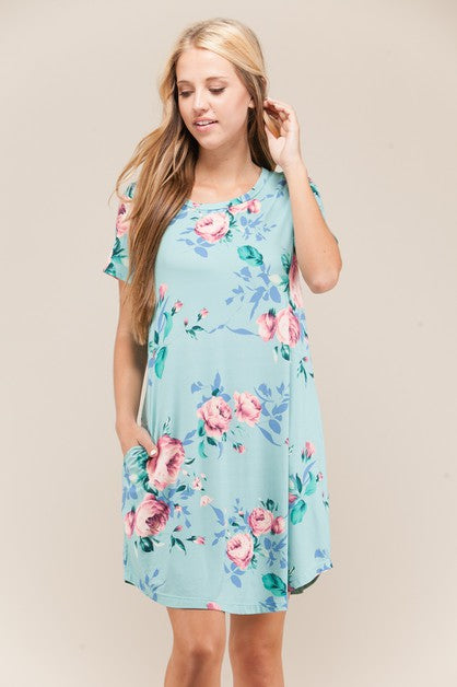 VIAMOR - AMELIA  FLORAL POCKET DRESS
