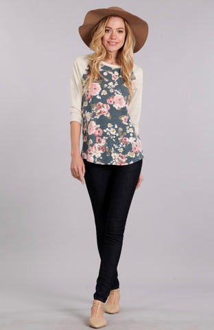 FIRST LOVE PLUS SIZE - JULIET FLORAL BASEBALL TEE