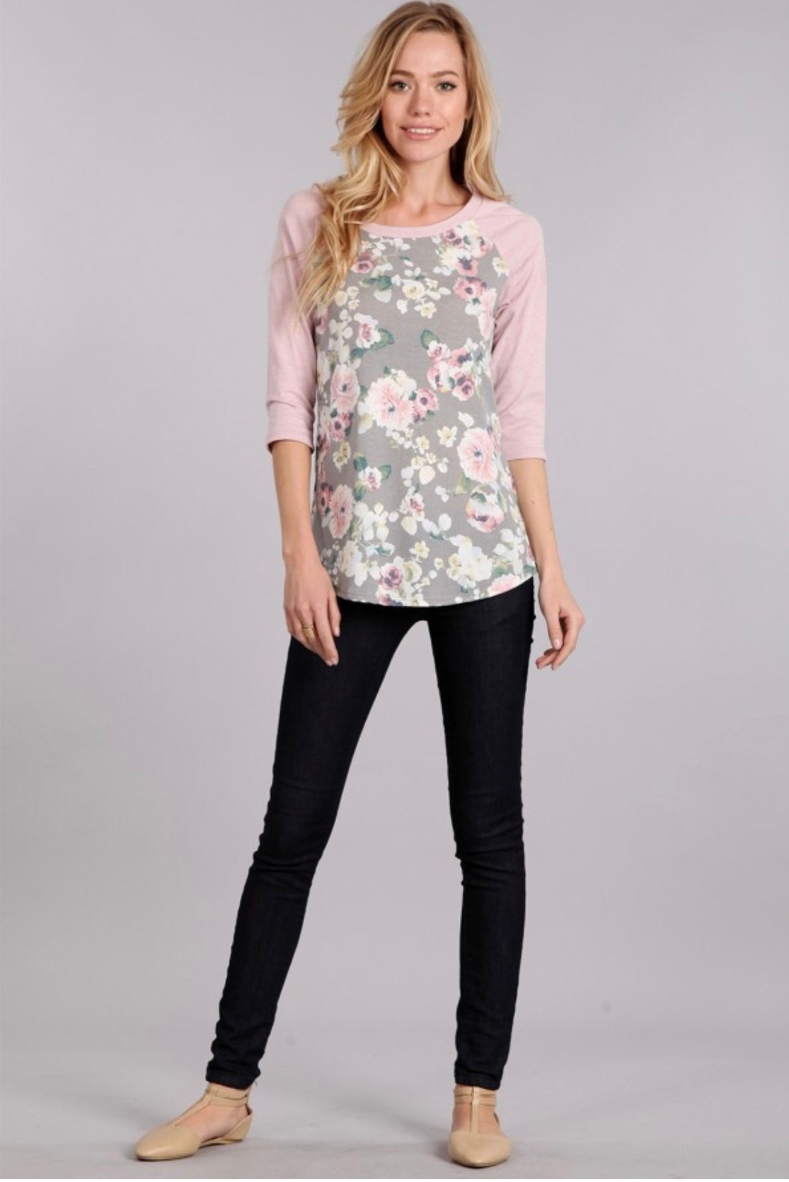 FIRST LOVE - KATIE FLORAL BASEBALL TEE