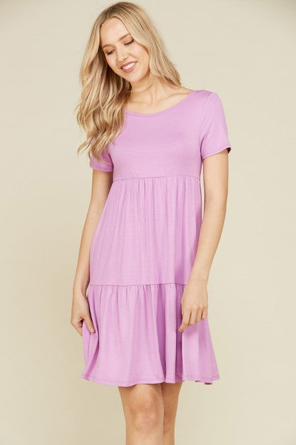 VIAMOR - MICHELE  RUFFLE SOLID DRESS