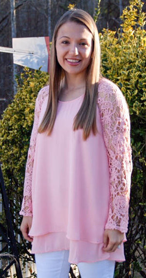 Lovely In Lace - Rose Pink Tunic