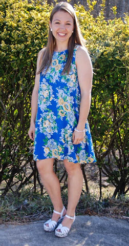 Young At Heart - Blue Floral Dress