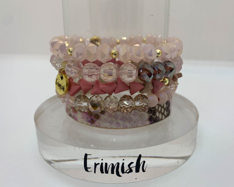"ERIMISH  -  ""CYBER MONDAY SPECIAL"" -  PINK CHOCOLATE STACK BRACELET SET"