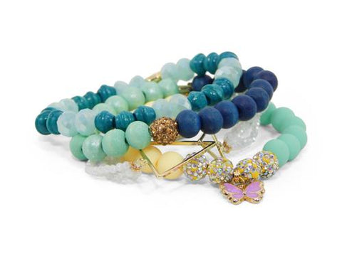ERIMISH  -  GEM JAMS  (KID SIZED) -  PEZ MINTY - STACK BRACELET SET