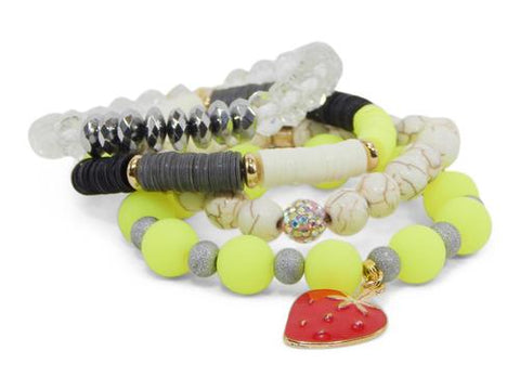 ERIMISH  -  GEM JAMS  (KID SIZED) -  PEZ NEON - STACK BRACELET SET
