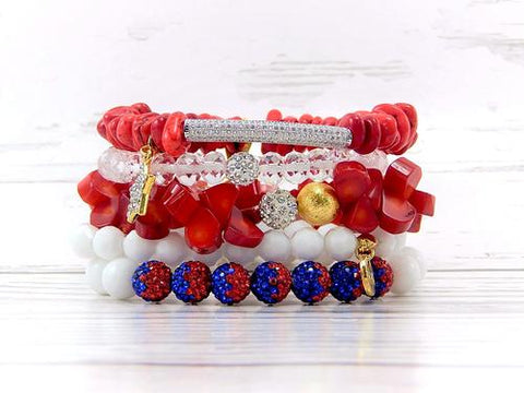 ERIMISH - RED BIRD STACK BRACELET SET