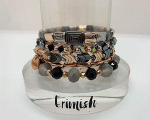 ERIMISH  - SMOKEY ROSE STACK BRACELET SET