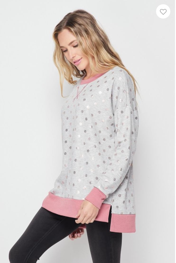 Honeyme Grey/Pink w/Rose Gold Dots - Weekender
