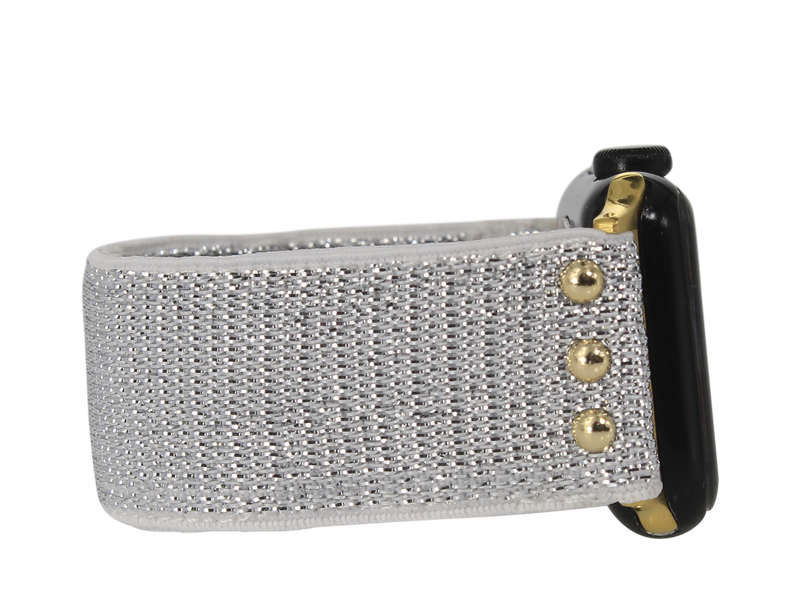 ERIMISH - STRETCHY SILVER GLITTER APPLE WATCH BAND - GOLD 13 CM