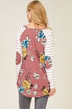 REB & J - WHITNEY FLORAL BASEBALL TUNIC TOP