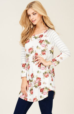 REB & J - ALLISON FLORAL BASEBALL TUNIC TOP