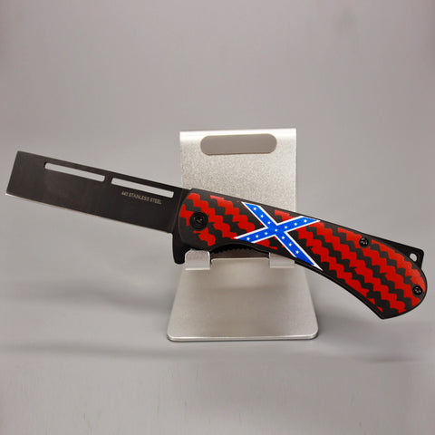 Confederate Flag Straight Blade Pocket Knife