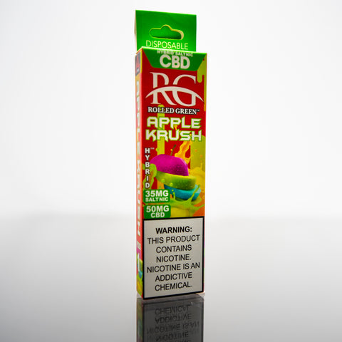 Rolled Green™ Hybrids™ Apple Krush SaltNic - Disposable Vape Device