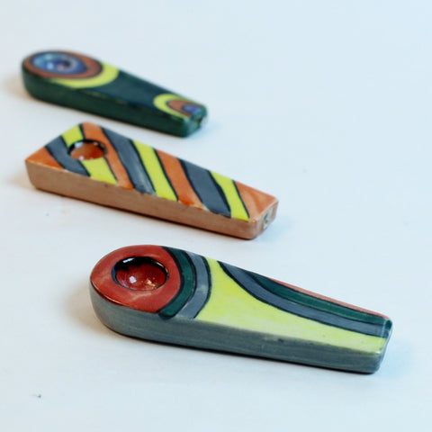 Flat Stone Hand Pipe - Assorted Designs