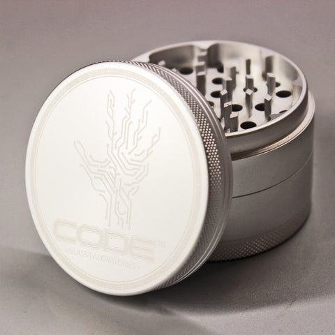 CODE Glass Labs - Silver 3 Stage Grinder - Climax Smoke Shop