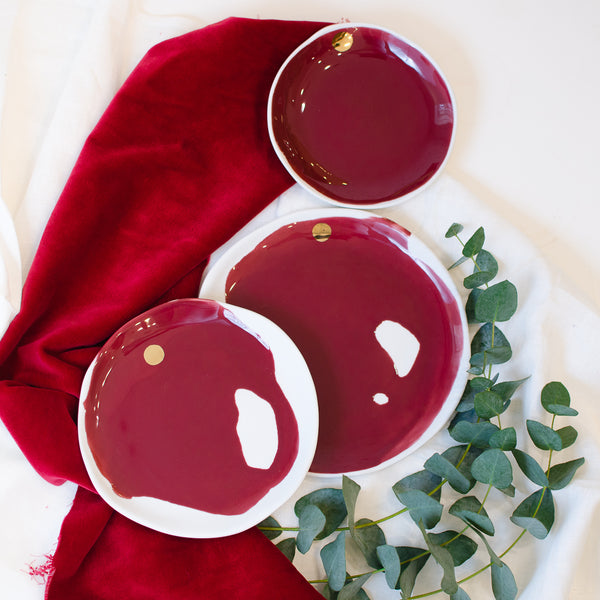 Spilled wine plates, three sizes Plate - artisan handmade porcelain wedding gift tableware Boya Porcelain  dinnerware