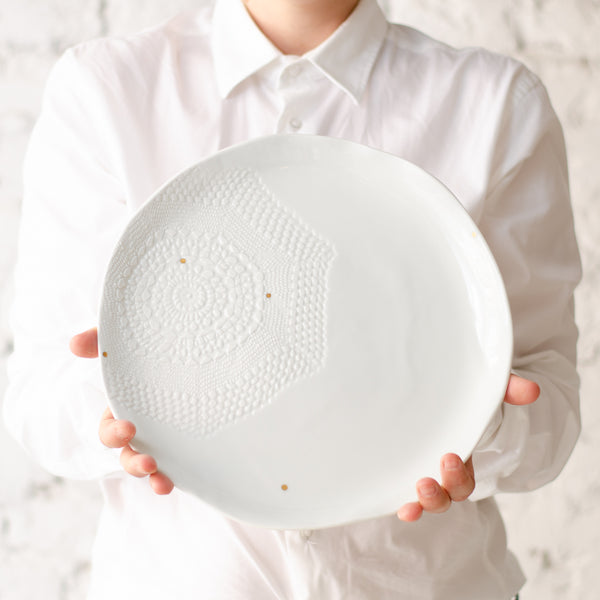 Big serving plate, 30cm Serving plate - artisan handmade porcelain wedding gift tableware Boya Porcelain  dinnerware