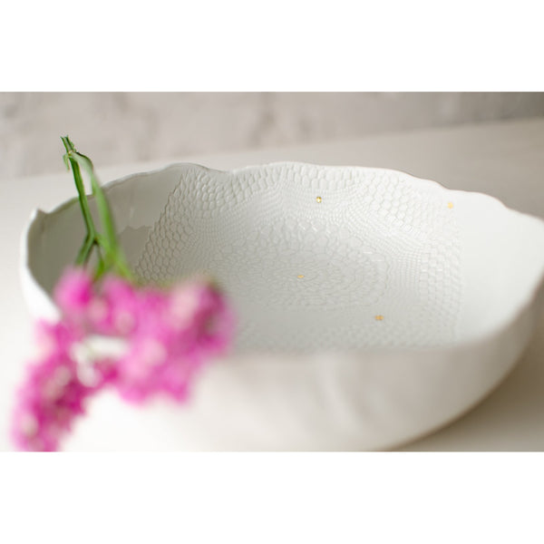 White organic-shaped bowl with imprinted lace fruit bowl - artisan handmade porcelain wedding gift tableware Boya Porcelain  dinnerware