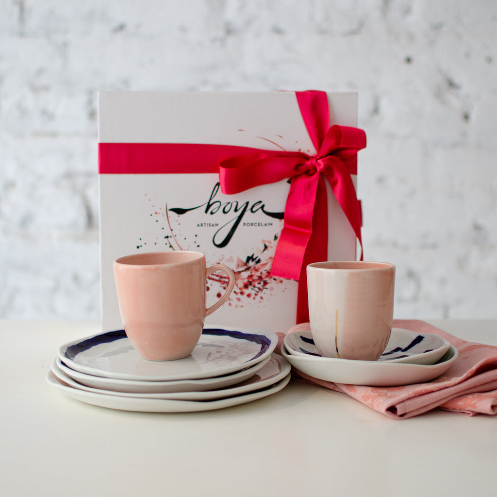 Pink&Cobalt, breakfast set for two Breakfast set - artisan handmade porcelain wedding gift tableware Boya Porcelain  dinnerware