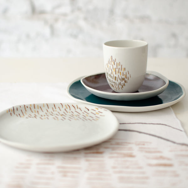 Bronze&Teal Beakfast Set For Two  - artisan handmade porcelain wedding gift tableware Boya Porcelain  dinnerware
