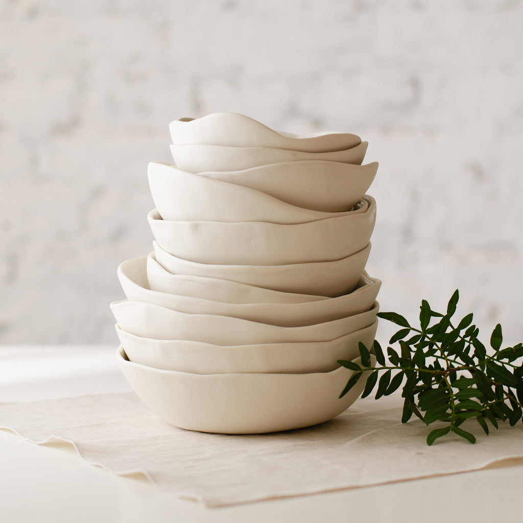 Organic shaped bowl, two sizes, two designs bowl - artisan handmade porcelain wedding gift tableware Boya Porcelain  dinnerware