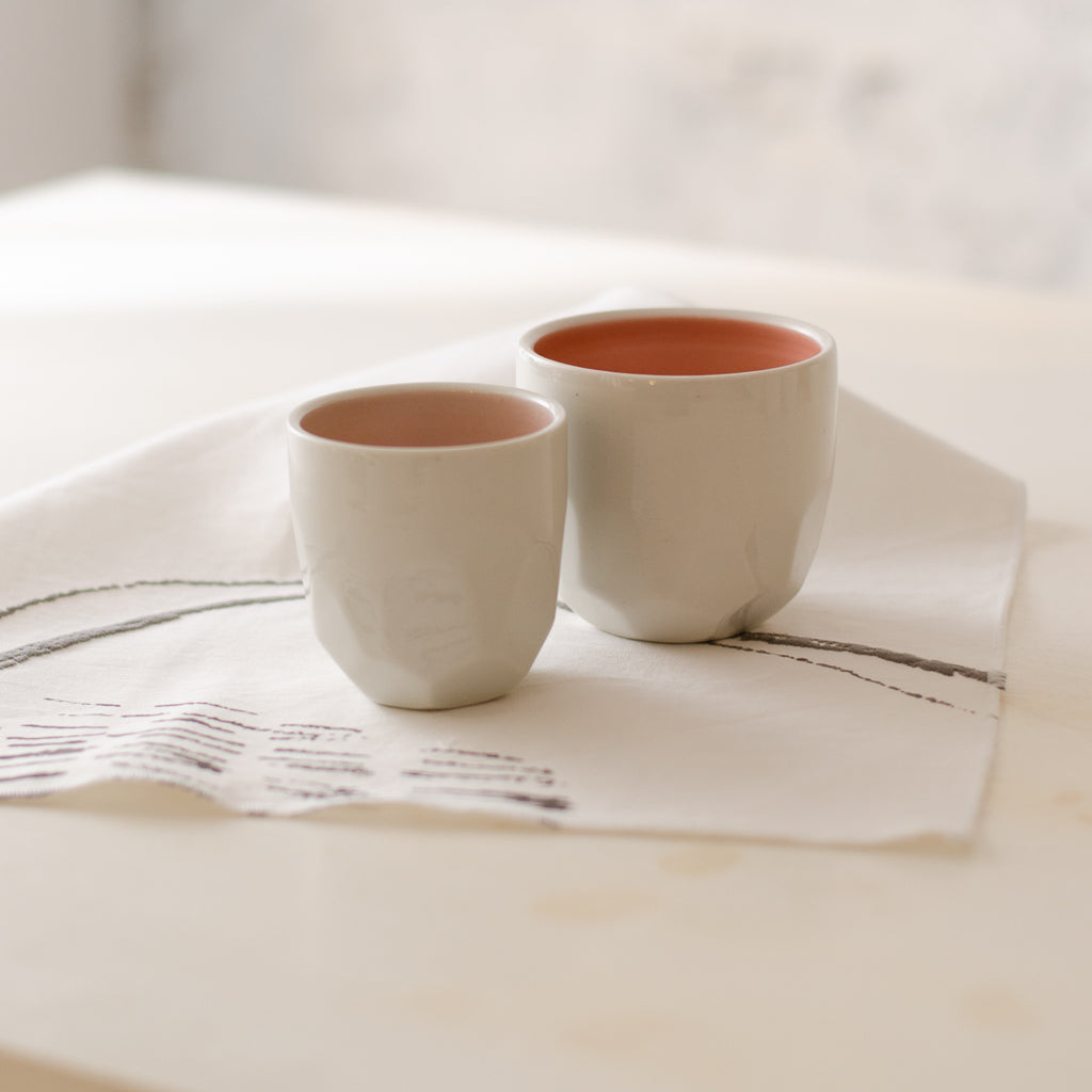 Faceted cups, six colors and two sizes Cup - artisan handmade porcelain wedding gift tableware Boya Porcelain  dinnerware