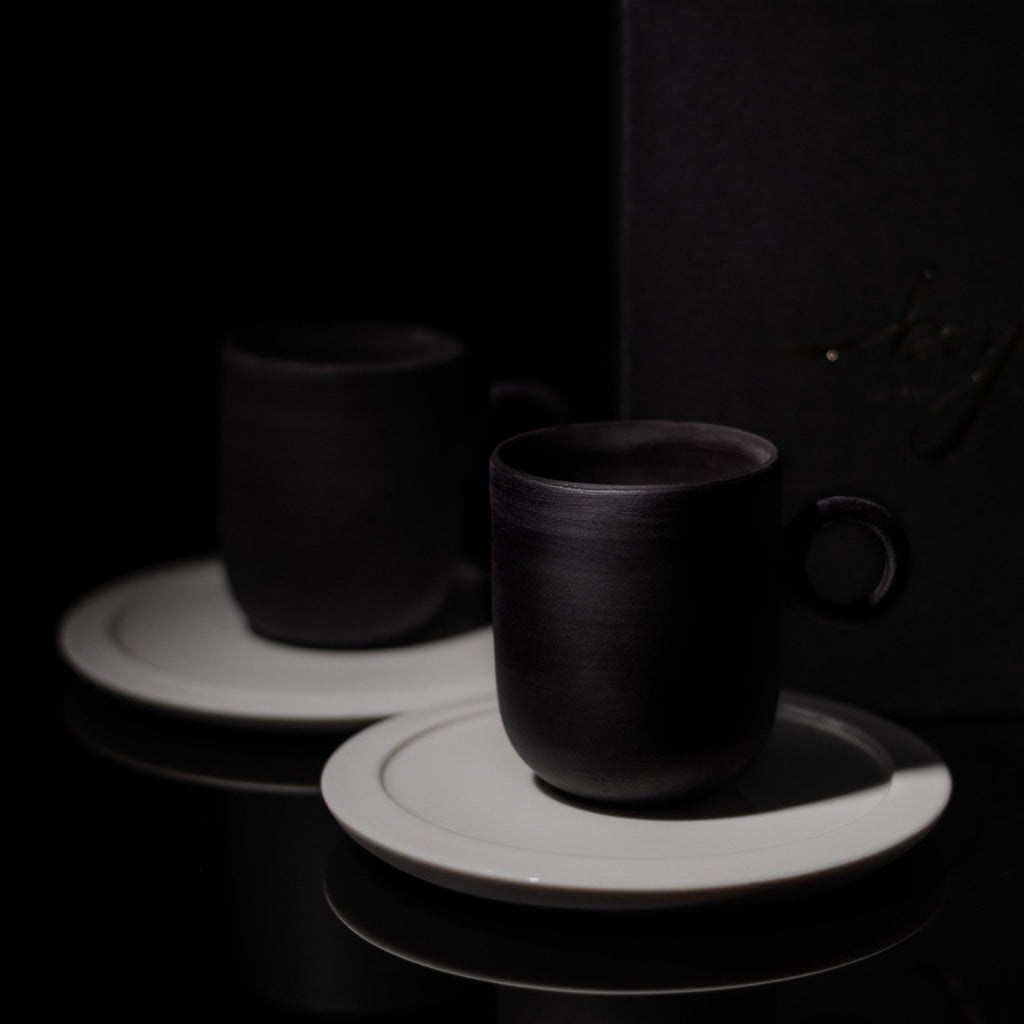 Noir Cup And Saucer coffe set - artisan handmade porcelain wedding gift tableware Boya Porcelain  dinnerware